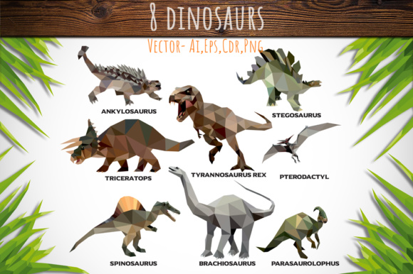 Download Free Set Of 8 Low Poly Dinosaurs Graphic By Vector City Skyline SVG Cut Files