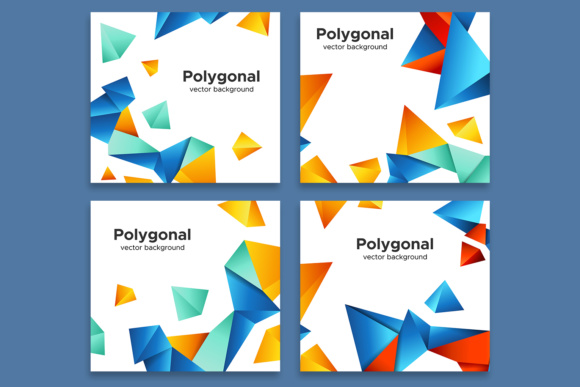 Set of Colorful Polygonal Backgrounds Graphic By Yurlick Image 2