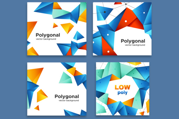 Set of Colorful Polygonal Backgrounds Graphic By Yurlick Image 3