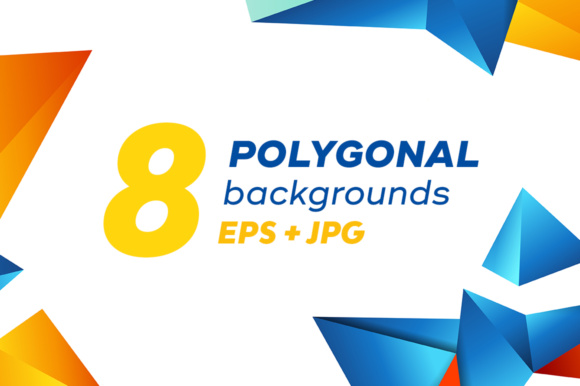 Set of Colorful Polygonal Backgrounds Graphic By Yurlick Image 1