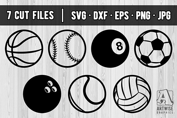 Download Free Set Of Sports Balls Vector Svg Dfx Cut Files And Transparent for Cricut Explore, Silhouette and other cutting machines.