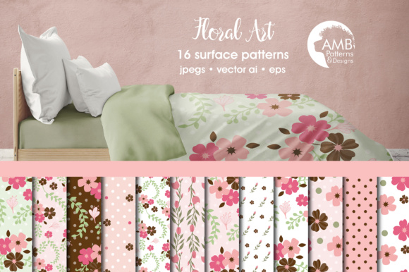Shabby Chic Floral Papers Graphic Patterns By AMBillustrations