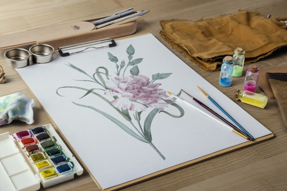 Single Carnation Watercolor Graphic Illustrations By Enliven Designs - Image 4