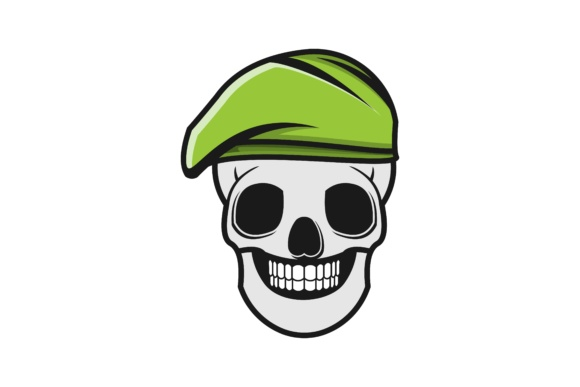 Skull And Green Military Hat Logo Designs Inspiration Vector