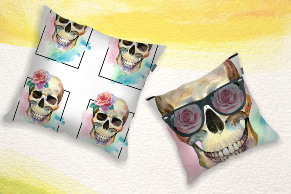 Download Free Skull Party Print Png Watercolor Set Grafico Por Mystocks for Cricut Explore, Silhouette and other cutting machines.