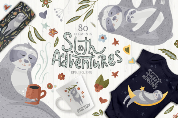 Print on Demand: Sloth Adventures - Big Graphic Set Graphic Illustrations By Red Ink - Image 1