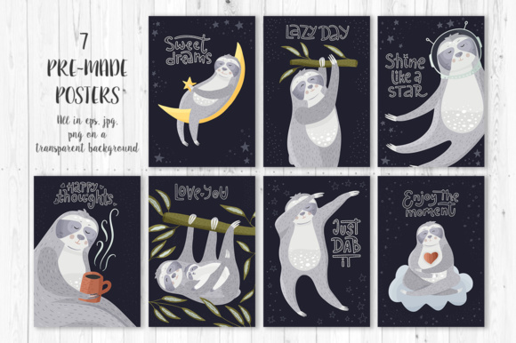 Print on Demand: Sloth Adventures - Big Graphic Set Graphic Illustrations By Red Ink - Image 7