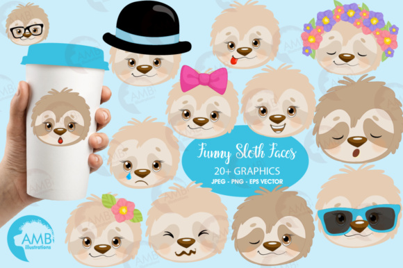 Download Free Sloth Faces Clipart Graphic By Ambillustrations Creative Fabrica for Cricut Explore, Silhouette and other cutting machines.