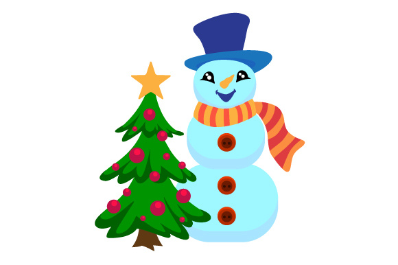 Download Free Snowman With Christmas Tree Svg Cut File By Creative Fabrica for Cricut Explore, Silhouette and other cutting machines.