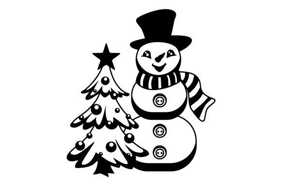 Snowman With Christmas Tree Svg Cut File By Creative Fabrica