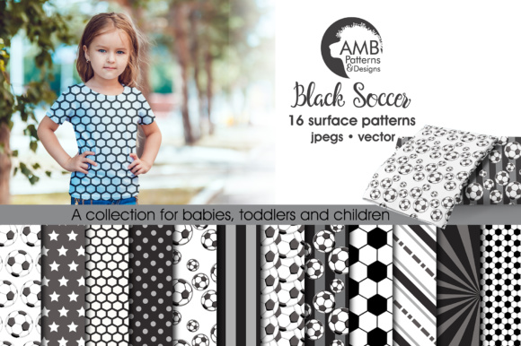 Soccer Black Papers AMB Graphic Patterns By AMBillustrations