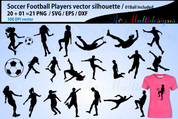 Print on Demand: Soccer Football Silhouette Graphic Illustrations By Arcs Multidesigns