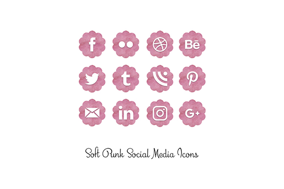 Download Free Soft Pink Social Media Icons Graphic By Anjana Designs for Cricut Explore, Silhouette and other cutting machines.