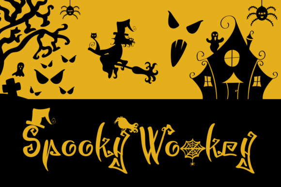 Print on Demand: Spooky Wookey Display Font By Illustrator Guru