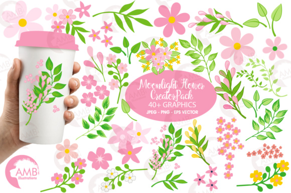 Download Free Spring Flower Creator Pack Graphic By Ambillustrations for Cricut Explore, Silhouette and other cutting machines.