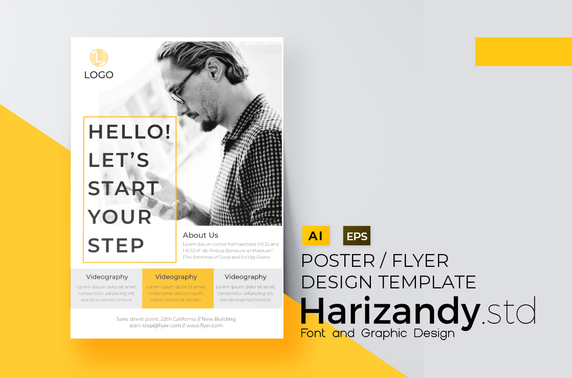 Download Free Starstep Flyer Design Template Grafico Por Harizandy Creative for Cricut Explore, Silhouette and other cutting machines.