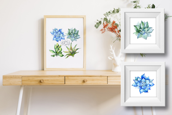 Download Free Succulent Blue Tropical Plant Set Graphic By Mystocks Creative for Cricut Explore, Silhouette and other cutting machines.