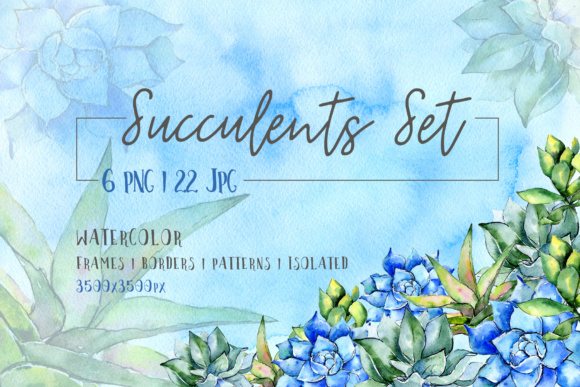 Print on Demand: Succulent Blue Tropical Plant PNG Set Graphic Illustrations By MyStocks