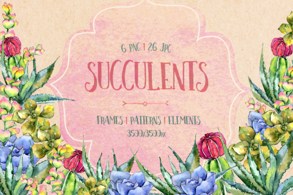 Succulents PNG Watercolor Set  Graphic By MyStocks Image 1