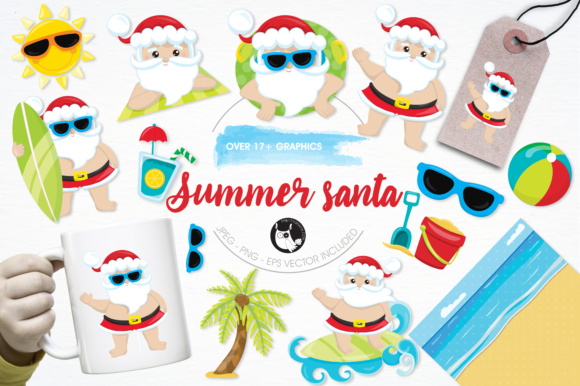 Print on Demand: Summer Santa Graphic Illustrations By Prettygrafik