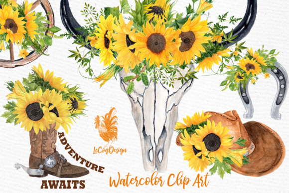 Download Free Sunflower Clipart Cowboy Set Clipart Graphic By Lecoqdesign for Cricut Explore, Silhouette and other cutting machines.