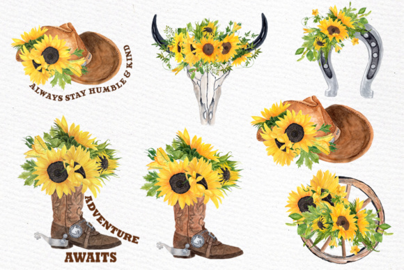 Sunflower Clipart Cowboy set clipart Graphic by ...