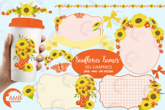 Sunflower Frames Clipart Graphic Illustrations By AMBillustrations