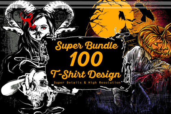 Print on Demand: Super Bundle 100 T-shirt Design Graphic Illustrations By fluffyartstudio