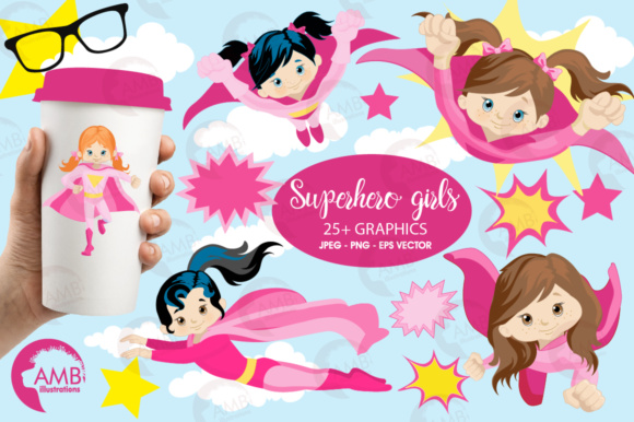 Supergirls Clipart Graphic Illustrations By AMBillustrations