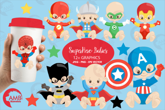Superhero Babies Graphic Illustrations By AMBillustrations