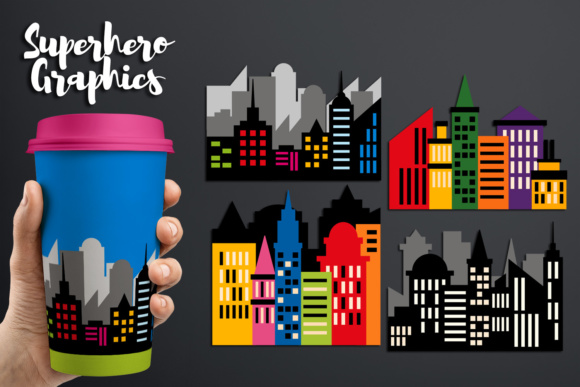 Print on Demand: Superhero City Skyline Buildings Block Graphic Illustrations By Revidevi