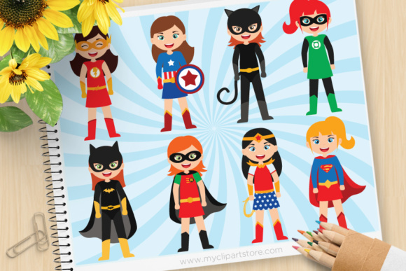 Print on Demand: Superhero Girl Clipart Graphic Illustrations By MyClipArtStore