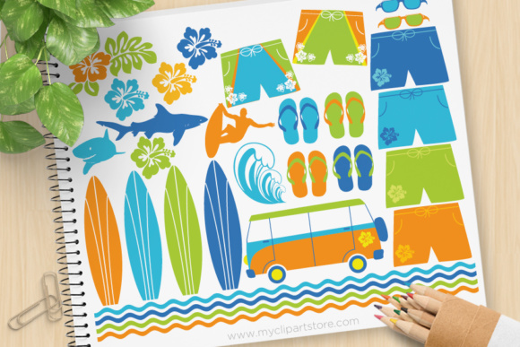 Print on Demand: Surfing Safari Clipart Graphic Illustrations By MyClipArtStore