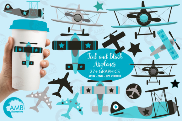 Teal Airplane Clipart Graphic Illustrations By AMBillustrations
