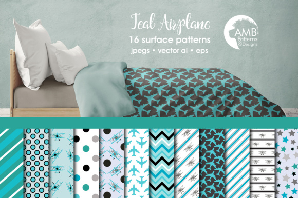 Teal Airplane Papers AMB Graphic Patterns By AMBillustrations