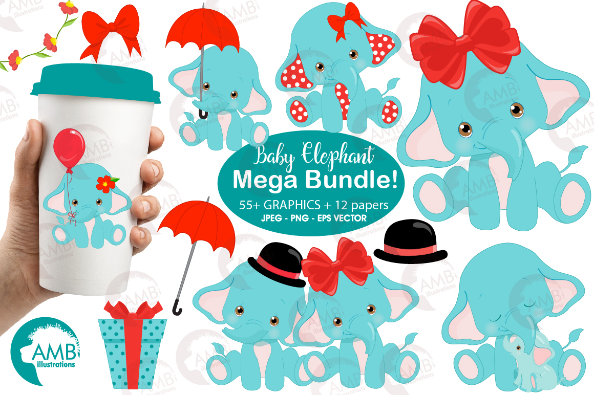 Download Free Teal Elephant Clipart Graphic By Ambillustrations Creative Fabrica for Cricut Explore, Silhouette and other cutting machines.