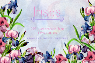 Tender Irises PNG Watercolor Set Graphic By MyStocks