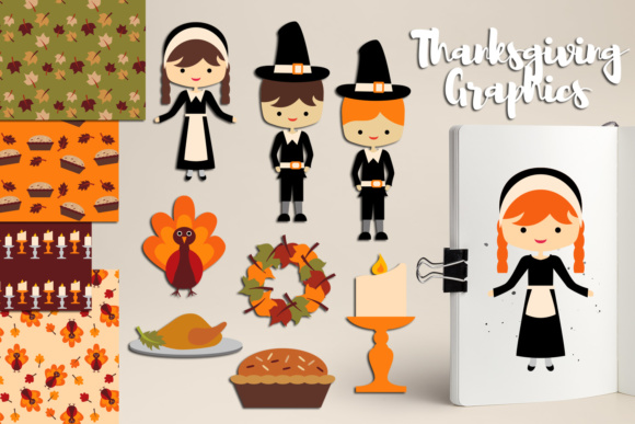 Print on Demand: Thanksgiving Day Dinner Graphic Illustrations By Revidevi