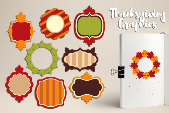 Print on Demand: Thanksgiving Decor Frames, Labels, Tags Graphic Illustrations By Revidevi