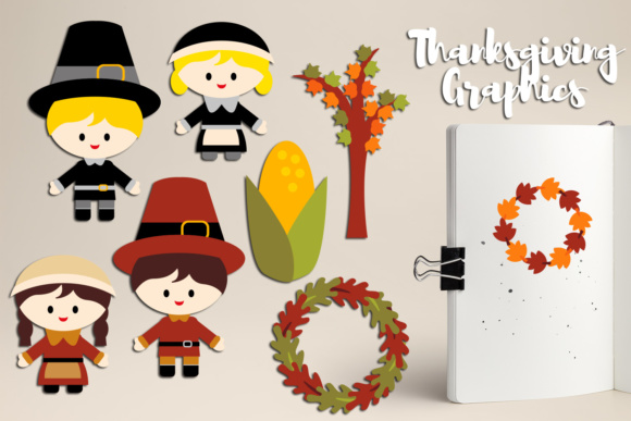 Print on Demand: Thanksgiving Kids, Autumn Leaves Graphic Illustrations By Revidevi