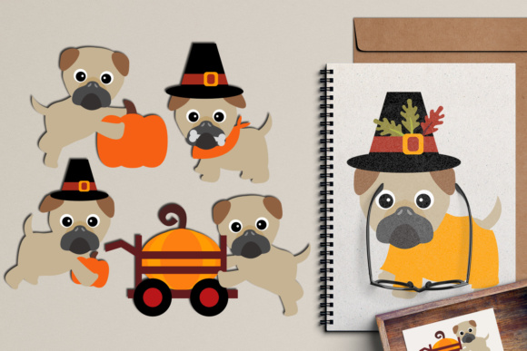 Print on Demand: Thanksgiving Pugs Puppy Dog, Autumn Fall Season Graphic Illustrations By Revidevi