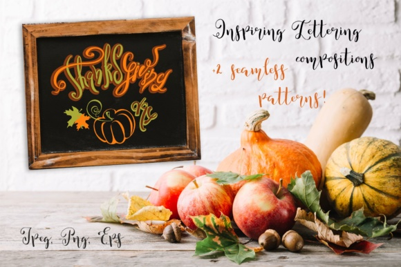 Thanksgiving Day. Lettering Compositions for Holiday Decoration . Graphic Illustrations By grigaola