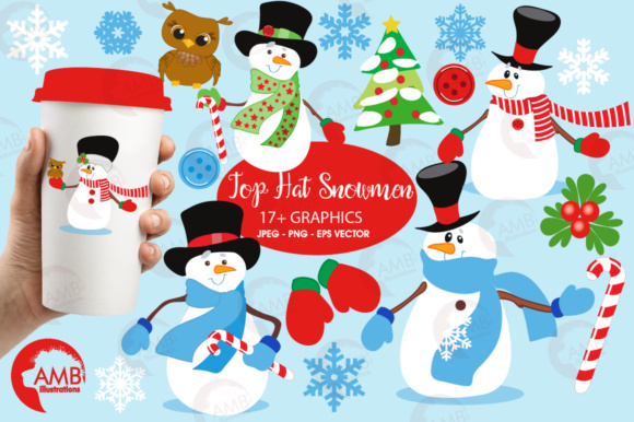 Download Free Tophat Snowmen Clipart Graphic By Ambillustrations Creative for Cricut Explore, Silhouette and other cutting machines.