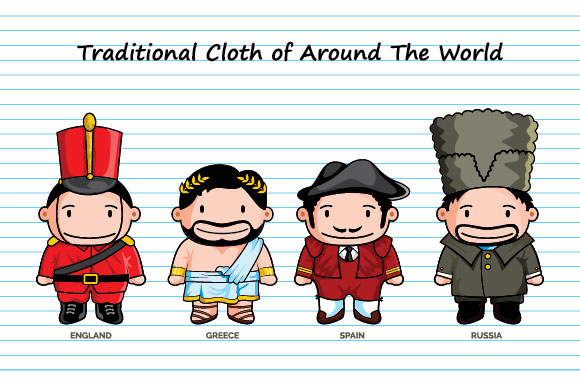 Download Free Traditional Cloth Of Around The World Cartoon Doodle Graphic for Cricut Explore, Silhouette and other cutting machines.