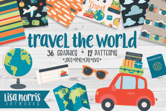 Download Free Travel The World Clip Art Graphics Patterns Graphic By Lisa for Cricut Explore, Silhouette and other cutting machines.