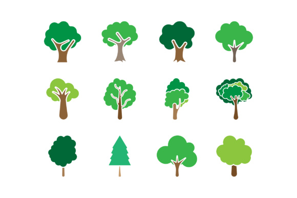 Download Free Tree Icon Set Graphic By Anasofart Creative Fabrica for Cricut Explore, Silhouette and other cutting machines.