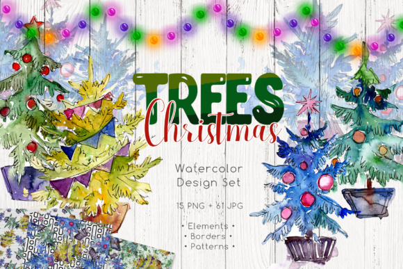 Print on Demand: Trees Christmas PNG Watercolor Set Graphic Illustrations By MyStocks