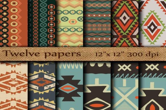 Tribal Digital Papers Graphic Backgrounds By twelvepapers