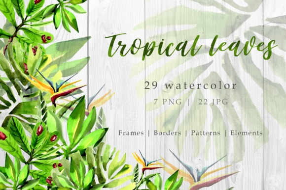 Download Free Tropical Leaves Watercolor Set Graphic By Mystocks Creative for Cricut Explore, Silhouette and other cutting machines.