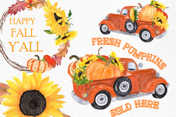 Truck with Pumpkins Clipart Graphic Illustrations By LeCoqDesign